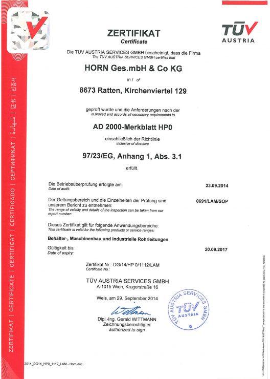 Schweissbetrieb Zulassung HP0