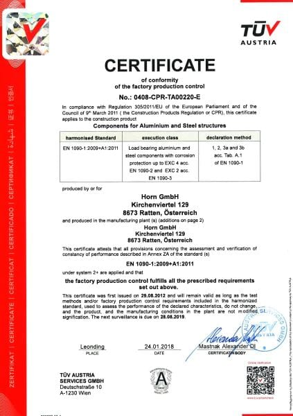 Quality assurance & certification Horn