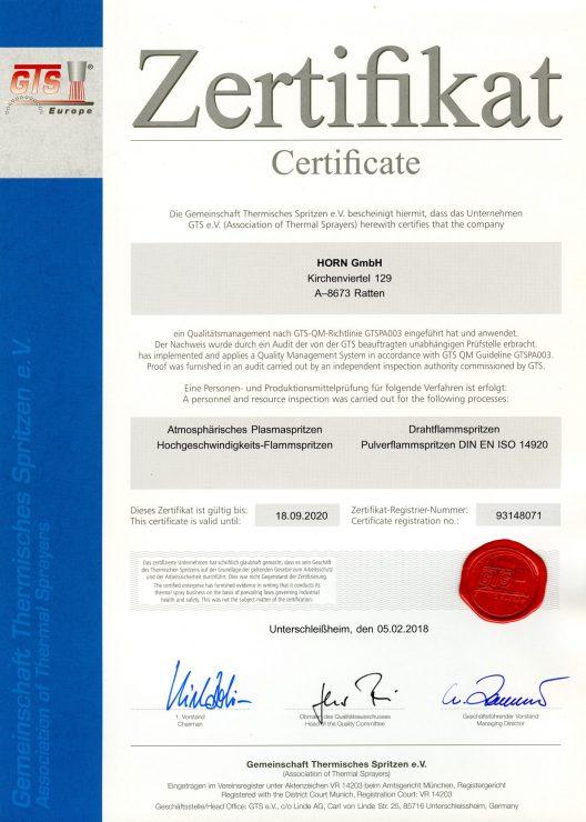Zert-Urkunde Horn 1710_071_1802